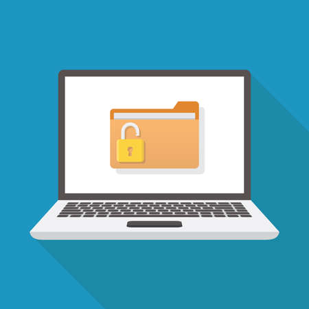 Unlock file, laptop, file, padlock, flat design vector illustration