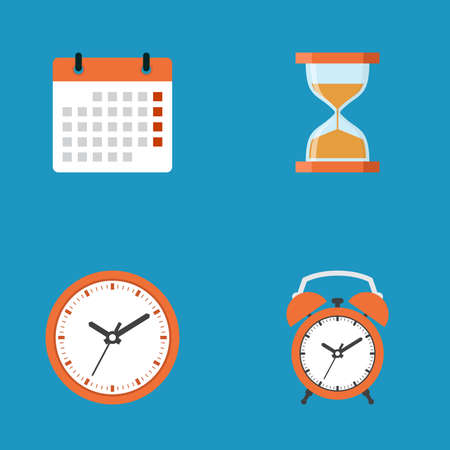 Calendar, hourglass, clock, alarm clock icon collection, flat design vector illustration Stock Vector - 124921533