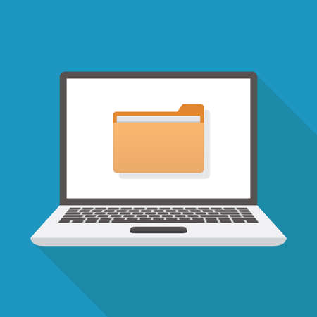 File icon and laptop, flat design vector illustration