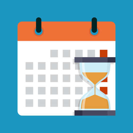 Hourglass and calendar, flat design vector illustration Illustration