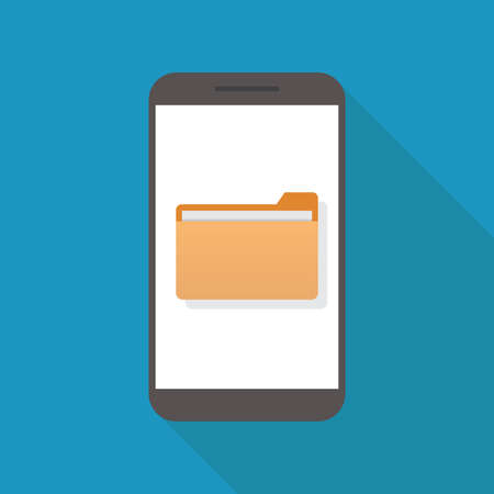 File icon and smart phone, flat design vector illustration