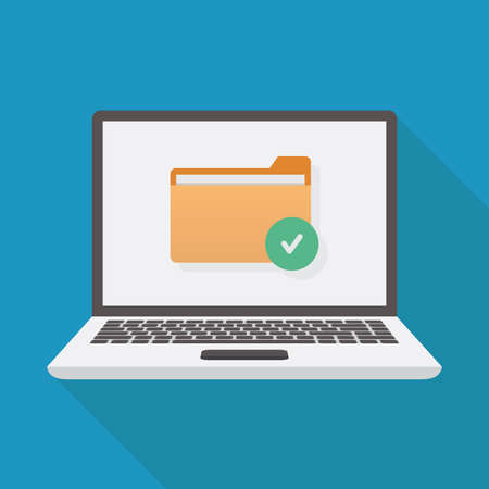 File security, laptop, file, check mark icon, flat design vector illustration