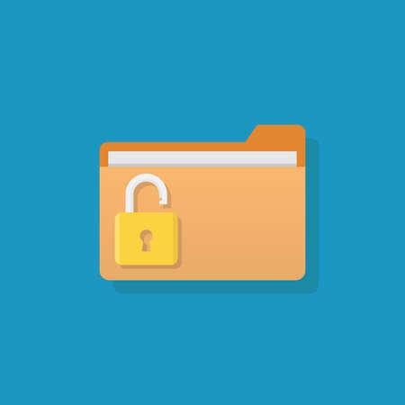 Unlock file, file and padlock, flat design vector illustration