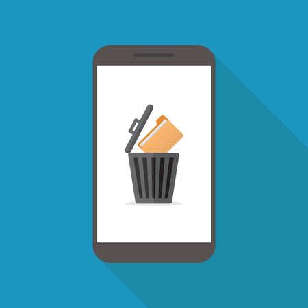 Delete file, smart phone, file, trashcan, flat design vector illustration
