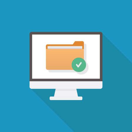 File security, computer, file, check mark icon, flat design vector illustration