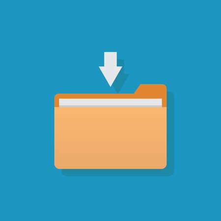 Download file, file and arrow, flat design vector illustration Ilustração