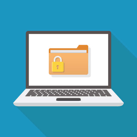 Lock file, laptop, file, padlock, flat design vector illustration