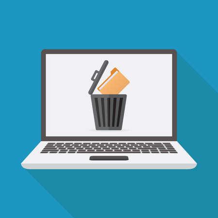 Delete file, laptop, file, trashcan, flat design vector illustration