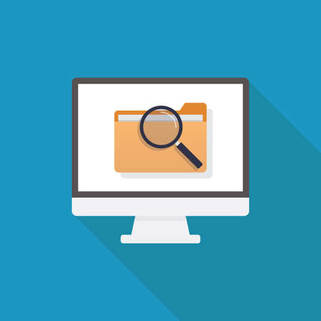 Looking for file, computer, file, magnifying glass, flat design vector illustration