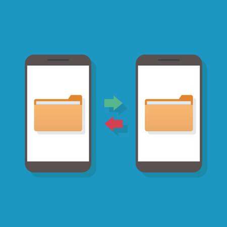 File transfer, computer, smart phone, flat design vector illustration Ilustração