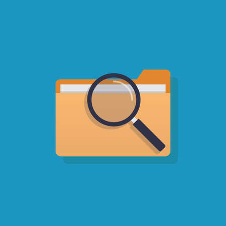 Looking for file, file and magnifying glass, flat design vector illustration