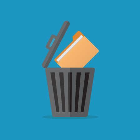 Delete file, file, trashcan, flat design vector illustration