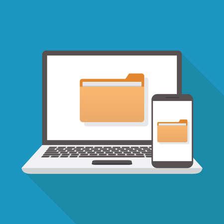 File transfer, laptop, smart phone, flat design vector illustration