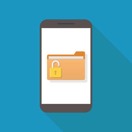 Unlock file, smart phone, file, padlock, flat design vector illustration