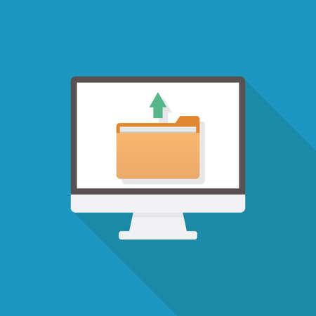 Upload file, computer, file, arrow, flat design vector illustration