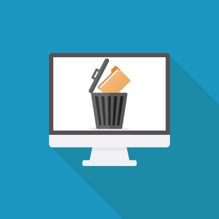 Delete file, computer, file, trashcan, flat design vector illustration