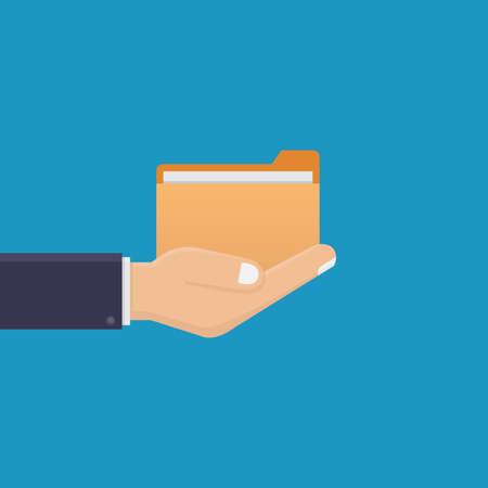 Business hand holding a file, flat design vector illustration