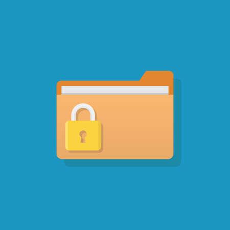 Lock files, file and padlock, flat design vector illustration Ilustração