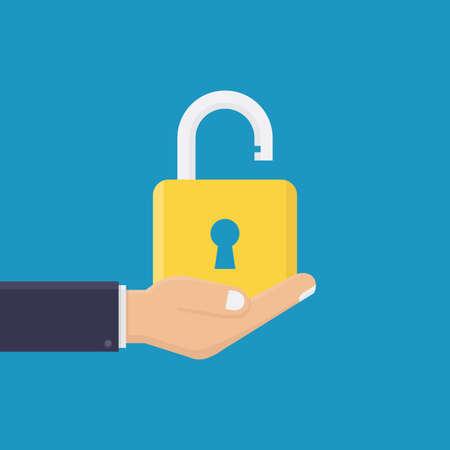 Business hand holding padlock icon flat, unlocked, flat design vector illustration 向量圖像