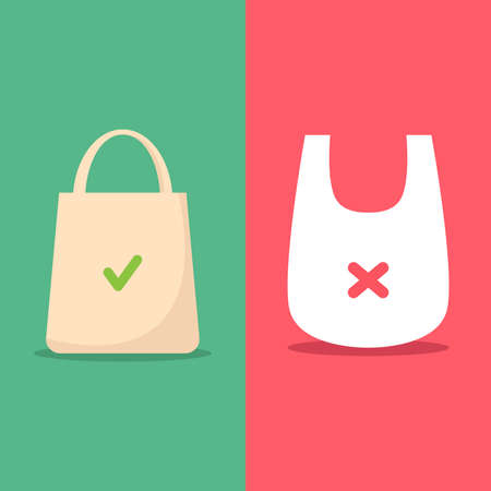 Use environmentally friendly bag and stop using plastic bag flat design vector illustration Çizim