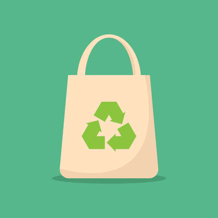 Use environmentally friendly bag, recycle icon, green color, flat design vector design template