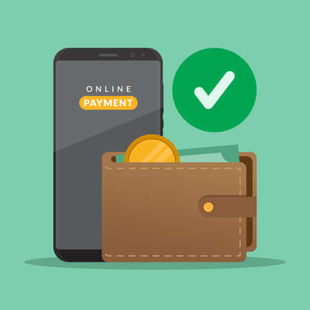 Payment concept, wallet, money and smartphone, transfer or payment online, flat design vector illustration
