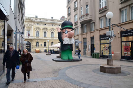 balthazar: Zagreb, Croatia. 23 Jan 2016. Statue of Professor Balthazar in Petriceva street in the city center. Professor Balthazar is popular character from the animated series for children about an old inventor.