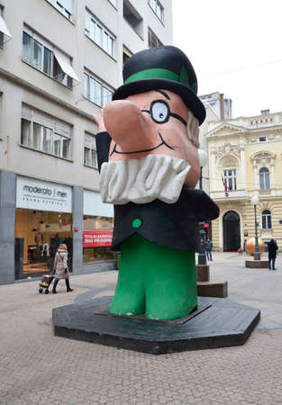 inventor: Zagreb, Croatia. 23 Jan 2016. Statue of Professor Balthazar in Petriceva street in the city center. Professor Balthazar is popular character from the animated series for children about an old inventor.
