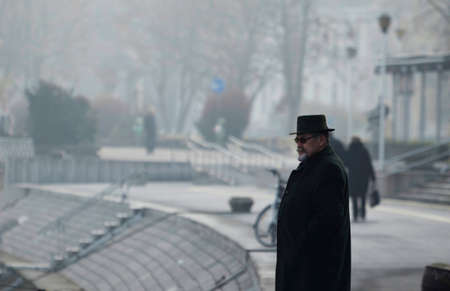 dec: Osijek,Croatia.26 Dec 2015. Croatian weather:Foggy day in the city.