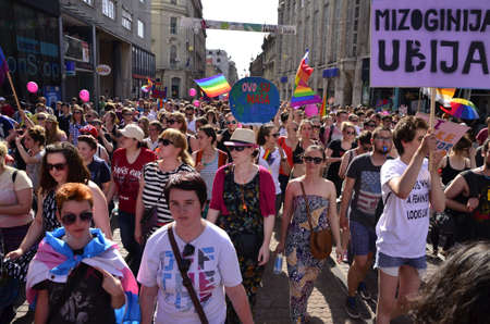 compromise: Zagreb,Croatia. 13 Jun 2015. 14th Pride March and families Zagreb Pride under the slogan louder and bolder: Anti-fascism  without compromise!.