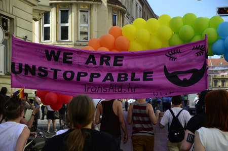 anti social: Zagreb,Croatia. 13 Jun 2015. 14th Pride March and families Zagreb Pride under the slogan louder and bolder: Anti-fascism  without compromise!