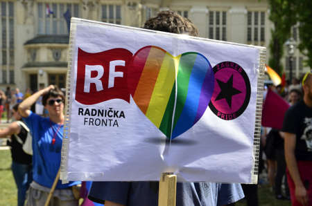 compromise: Zagreb,Croatia. 13 Jun 2015. 14th Pride March and families Zagreb Pride under the slogan louder and bolder: Anti-fascism  without compromise!