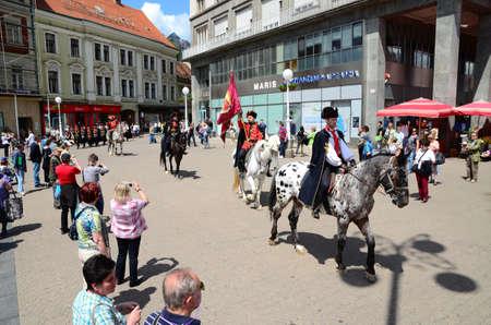 regiment: Zagreb,Croatia. The Honour Cravat Regiment guard shift at Ban Josip Jelacic square