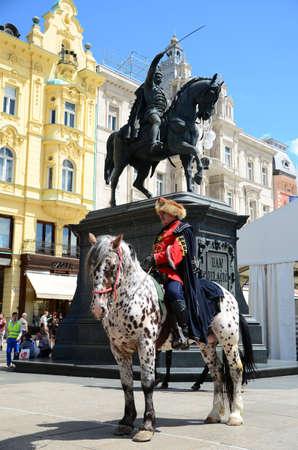 shift: Zagreb,Croatia. The Honour Cravat Regiment guard shift at Ban Josip Jelacic square
