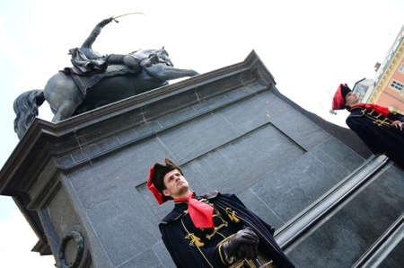 honour: Zagreb,Croatia. The Honour Cravat Regiment guard shift at Ban Josip Jelacic square