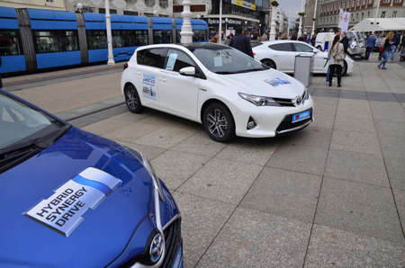 almost all: Zagreb, Croatia. 5th October 2013. Presentation of the International project Nikola Tesla EV Rally Croatia in 2014. At the presentation were almost all electric vehicles in Croatia.This is the announcement for the electrical and rally cars, which will b