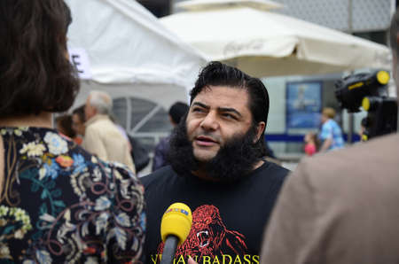 sep: Zagreb, Croatia. 04th Sep, 2015. Patrik Baboumian visited ZeGeVege Festival of Sustainable Living at Ban Josip Jelacic square.