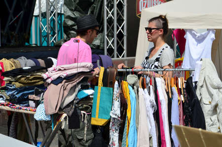 gathered: Zagreb,Croatia. May 25th 2014. Spring Bazaar on the plateau Gradec on Upper town of Zagreb gathered a large number of exhibitors from Croatia. Editorial