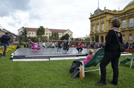 blanche: Zagreb, Croatia. 26 Sep 2015. As part of the Rendez vous festival of France Nuit blanche in the city, held a concert and opera in front of the Croatian National Theatre