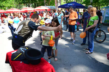 gathered: Zagreb, Croatia. June 7, 2014. Cest is dBest international street festival held in the period from 05 to 11 June gathered a large number of street performers and visitors.