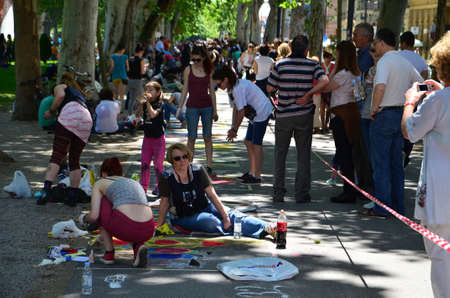gathered: Zagreb, Croatia. June 7, 2014. Cest is dBest international street festival held in the period from 05 to 11 June gathered a large number of street performers and visitors Editorial