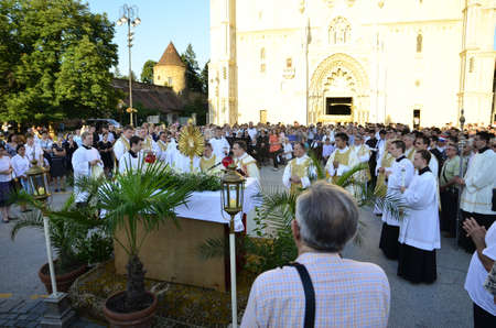 feast: Zagreb,Croatia. 04 Jun 2015. On the occasion of the feast of Corpus Christi Eucharistic celebration presided by Cardinal Josip Bozanic in front of Cathedral. Editorial