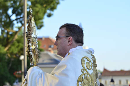 the believer: Zagreb,Croatia. 04 Jun 2015. On the occasion of the feast of Corpus Christi Eucharistic celebration presided by Cardinal Josip Bozanic in front of Cathedral. Editorial