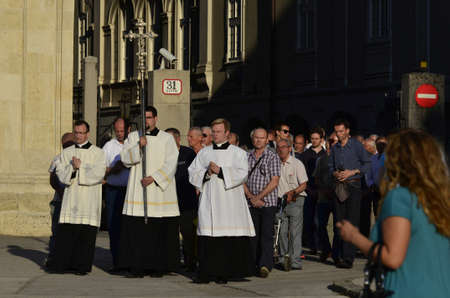 feast: Zagreb,Croatia. 04 Jun 2015. On the occasion of the feast of Corpus Christi Eucharistic celebration presided by Cardinal Josip Bozanic in front of Cathedral Editorial