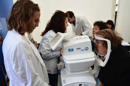 ophthalmic: Zagreb, Croatia. 12th Apr, 2014. On the occasion of the 65th anniversary of the Institute of Public Health Dr. Andrija Stampar and Health Week, which began a solemn observance of World Health Day, organized public health event , which was held at Petar