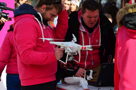 demonstrated: Zagreb,Croatia. 21. Feb 2015. Croatian Telecom demonstrated the fastest internet on the Petar Preradovic square. With drones they promote fast 4G network with live stream on big LCD screen.