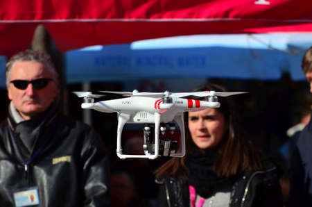 Zagreb,Croatia. 21. Feb 2015. Croatian Telecom demonstrated the fastest internet on the Petar Preradovic square. With drones they promote fast 4G network with live stream on big LCD screen.
