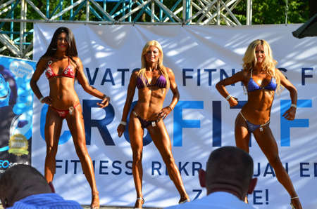 fits in: Zagreb, Croatia. June 7, 2014. CRO FIT FEST - Croatian Fitness Festival held in Maksimir Park has attracted a large number of participants and visitors