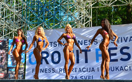 held: Zagreb, Croatia. June 7, 2014. CRO FIT FEST - Croatian Fitness Festival held in Maksimir Park has attracted a large number of participants and visitors. Editorial