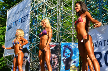 participants: Zagreb, Croatia. June 7, 2014. CRO FIT FEST - Croatian Fitness Festival held in Maksimir Park has attracted a large number of participants and visitors. Editorial